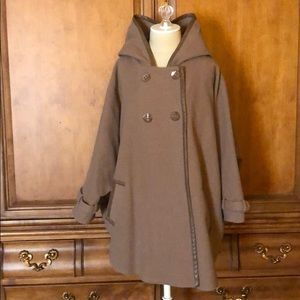 12th St By Cynthia Vincent Hooded Wool Trench Cape